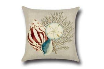 "Ocean Theme Seashell Pattern Square Cotton Throw Pillow Cover 18"" X 18"" 3"