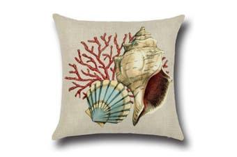 "Ocean Theme Seashell Pattern Square Cotton Throw Pillow Cover 18"" X 18"" 4"