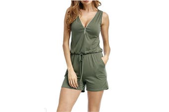 Women V Neck Zipper Front Romper With Pockets   XXXXL