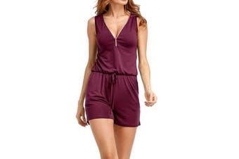 Women V Neck Zipper Front Romper With Pockets   XXXL
