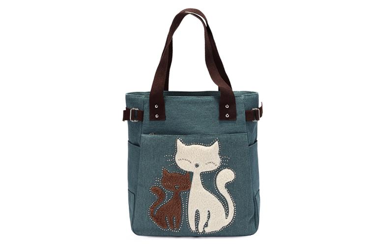 men Canvas Handbag Cat Big Tote Bag Green