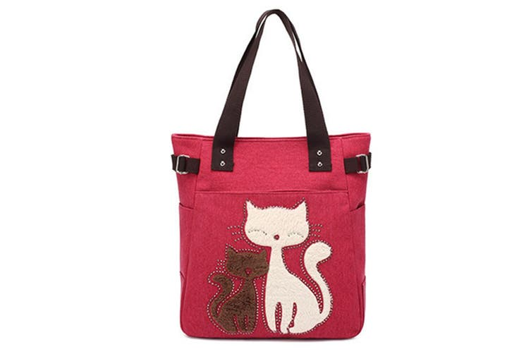men Canvas Handbag Cat Big Tote Bag Red