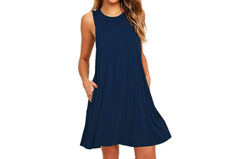 Women's Sleeveless Casual Loose Tank Summer Dress  L