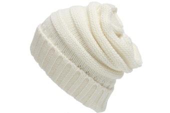 Unisex Knitted Beanie Caps Skully Hat  White