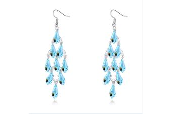 Multi-waterdrop Luxury Crystal Cluster  Dangle Earing Blue