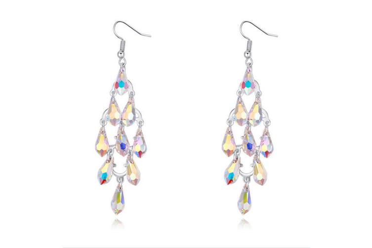 Multi-waterdrop Luxury Crystal Cluster  Dangle Earing ColorWhite