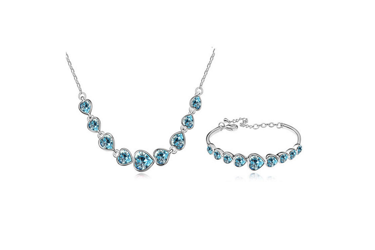 Luxury Crystal Heart Shaped Necklace and bracelet Set Blue