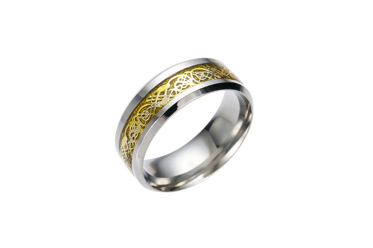 Dragon Scale Dragon Pattern Beveled Edges Celtic Rings Jewelry Wedding Band for Men