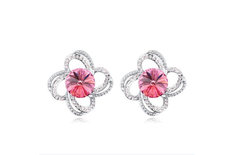 Luxury Crystal Flower Earrings Studs Set HotPink