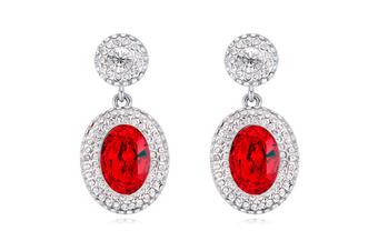 Platinum-Plated Swarovski Elements Crystal Flower Stud Earrings Red