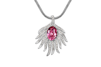 Luxury Crystal Peacock Feather Pendant Necklace  HotPink