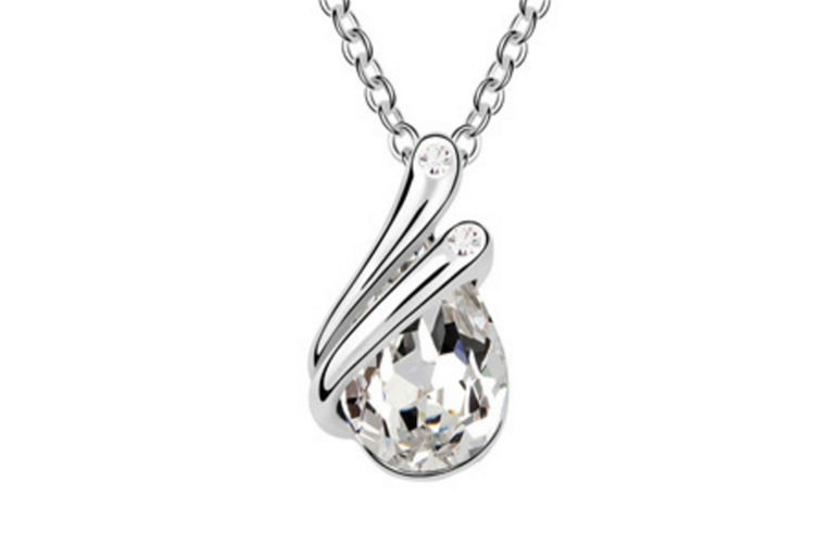 Luxury Crystal Teardrop Pendant Necklace  Crystal