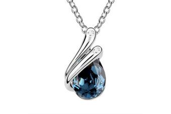 Luxury Crystal Teardrop Pendant Necklace  Navy