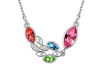 Luxury Crystal Flowers Shape  Pendant Necklace HotPink