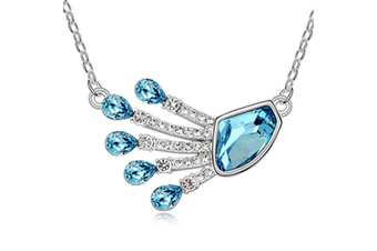 Luxury Crytal Peacock feathers  Necklace chain Blue