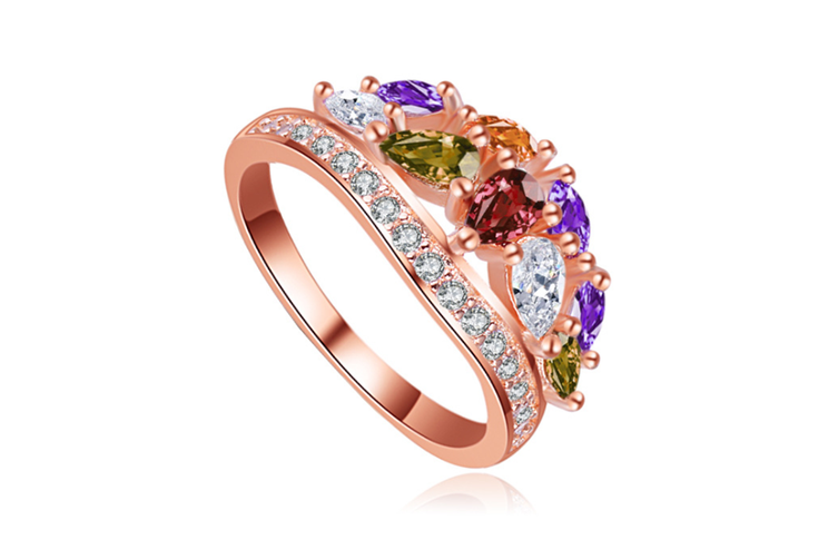Rose Gold Plated Colorful Austrian Cubic Zirconia Ring 8
