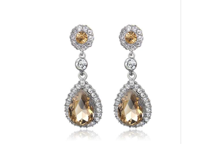 Flower Teardrop  Wedding Dangle Earrings for Women or Bridesmaids Austrian Crystal Earrings  Gold