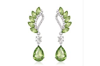 Reinston Luxury Crystal Dangle Earrings  Green