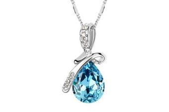 Swarovski Elements Luxury Crystal Water-drop Teardrop-shaped Fashion Pendant Necklace Blue