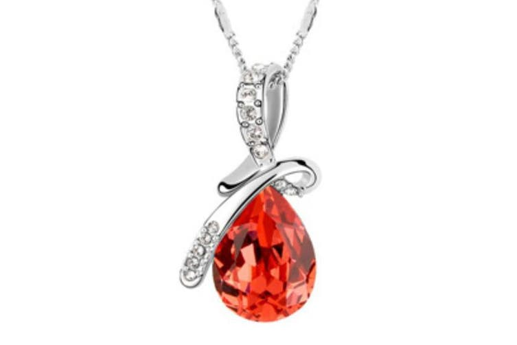 Swarovski Elements Luxury Crystal Water-drop Teardrop-shaped Fashion Pendant Necklace Shuilianhong
