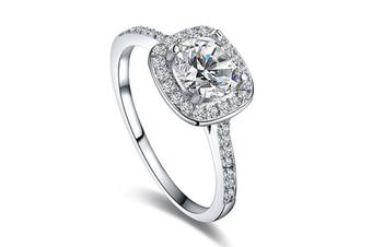 Womens Jewelry Circular Bead Square Ring Diamond Platinum Ring  9