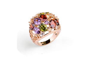 18K RoseGold Plated Cubic Colored Zircon Ring  8