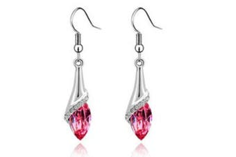 Long Dangle Water Drop Set SWAROVSKI ELEMENTS  Crystal Fashion Earrings HotPink