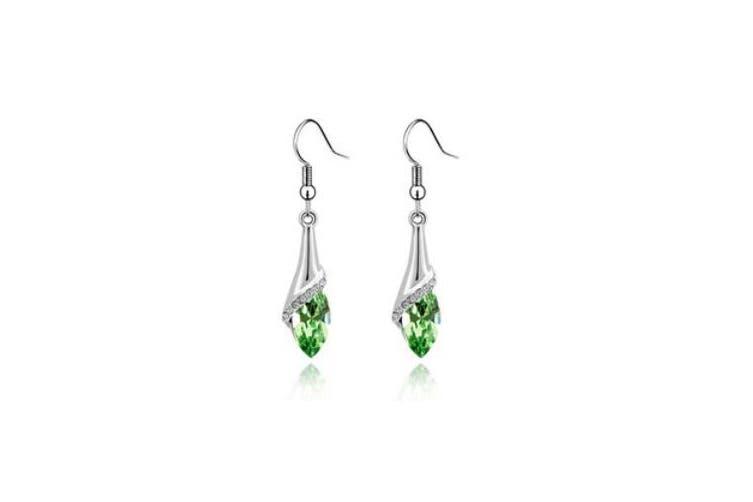Long Dangle Water Drop Set SWAROVSKI ELEMENTS  Crystal Fashion Earrings Oliva