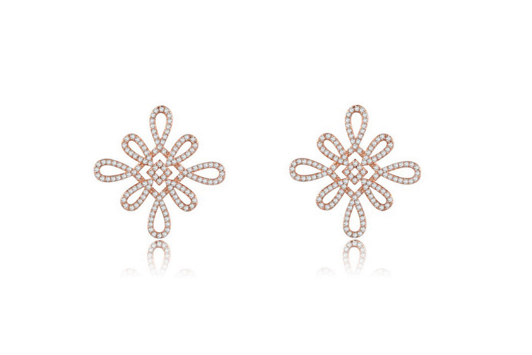 Chinese Knot Gold Plated Stud Earrings  G00228