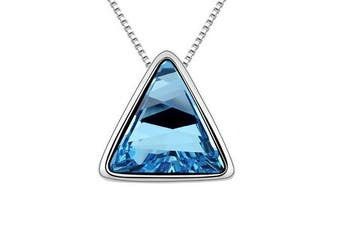 Triangle Necklace for Women Gift Made with SWAROVSKI Elements Crystal 18K White Gold Plated  Blue