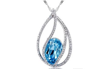 Teardrop Fashion Jewelry Pendant Love Necklace Made with SWAROVSKI Crystal Elements Blue