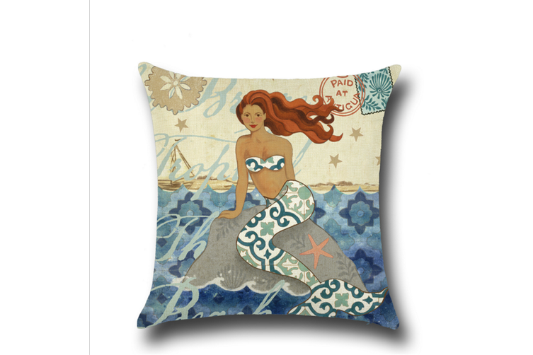 Mermaid Cotton Linen Decorative Throw Pillow Case Sets 18X18 Inches M2