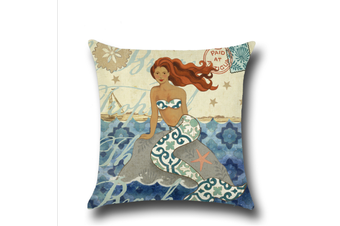 Mermaid Cotton Linen Decorative Throw Pillow Case Sets 18X18 Inches M4
