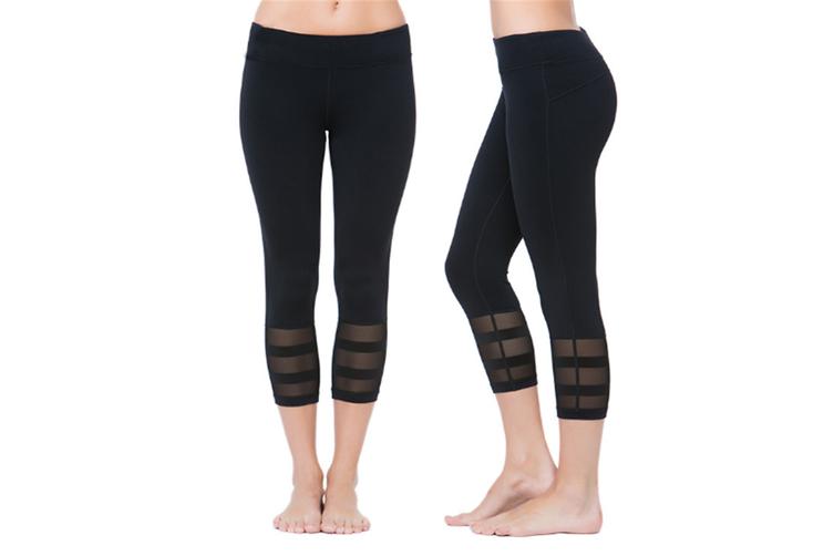 Womens Running Yoga Pants 3/4 Mesh Patchwork Workout Leggings M