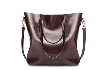 Vintage Waterproof Oil Wax PU Leather Large Capacity Shoulder Bag Totes Burgundy