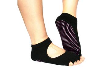 Non Slip Skid Yoga Pilates Barre Socks with Grips for Women and Men Black