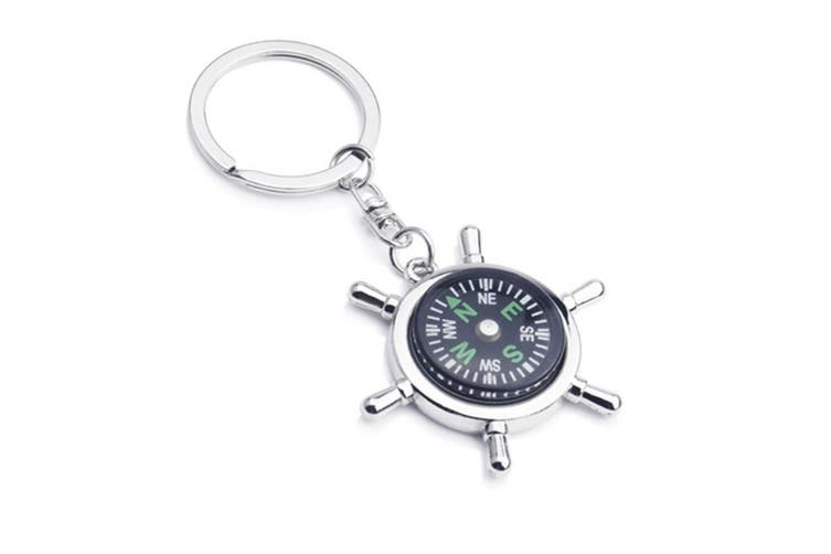 Portable Alloy Silver Nautical Compass Helm Keychain Ring Chain G00707