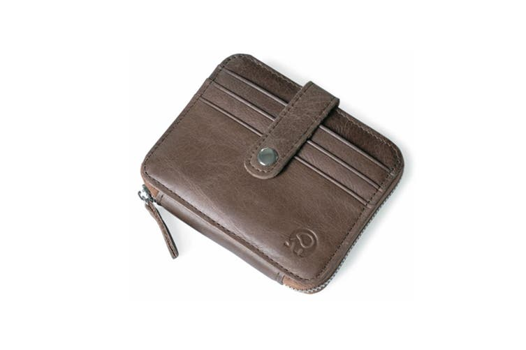Genuine Leather Zipper Wallet Business & Credit Card Case Holder Bifold Coffee