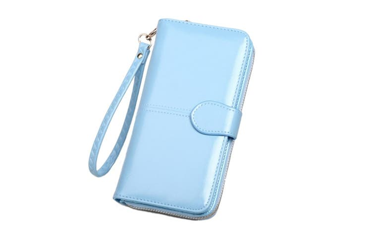 Women Leather Wallet Purse Large Capacity Bifold Checkbook with Phone Pocket LightBlue