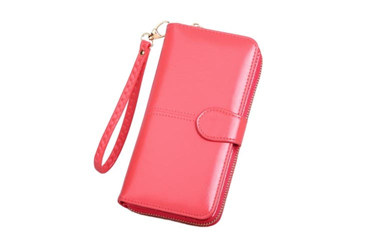 Women Leather Wallet Purse Large Capacity Bifold Checkbook with Phone Pocket Red