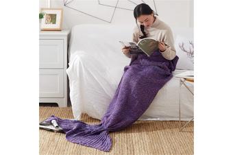 Knitted Mermaid Tail Blanket Super Soft Sleeping Bag Purple