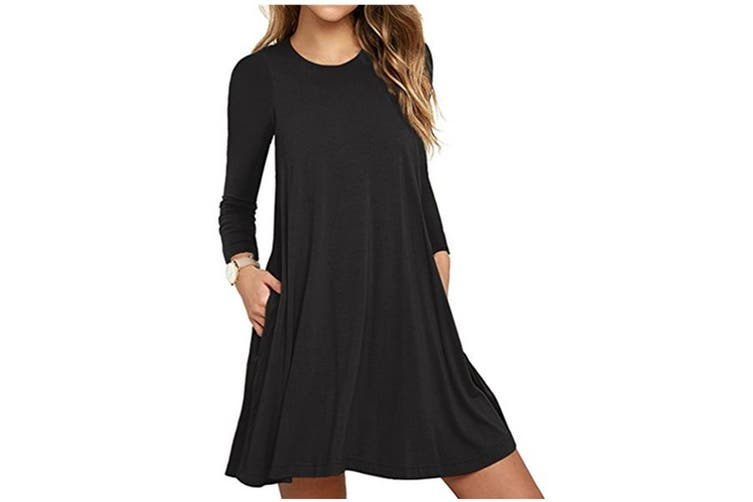 Women's Pockets Dress Casual Swing T-shirt Dresses XXL