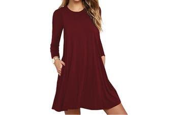 Women's Pockets Dress Casual Swing T-shirt Dresses