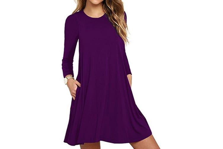 Women's Pockets Dress Casual Swing T-shirt Dresses S