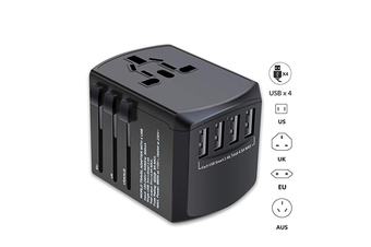 International Travel Adapter, Universal Plug Adapter for Worldwide travel with 4 USB Ports