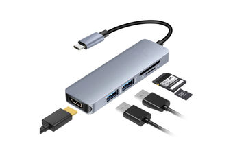 USB C HDMI Adapter for MacBook Pro 2016/2017, 5 in 1 USB-C to HDMI Output, Sd+Microsd Card Reader and 2-Ports USB 3.0