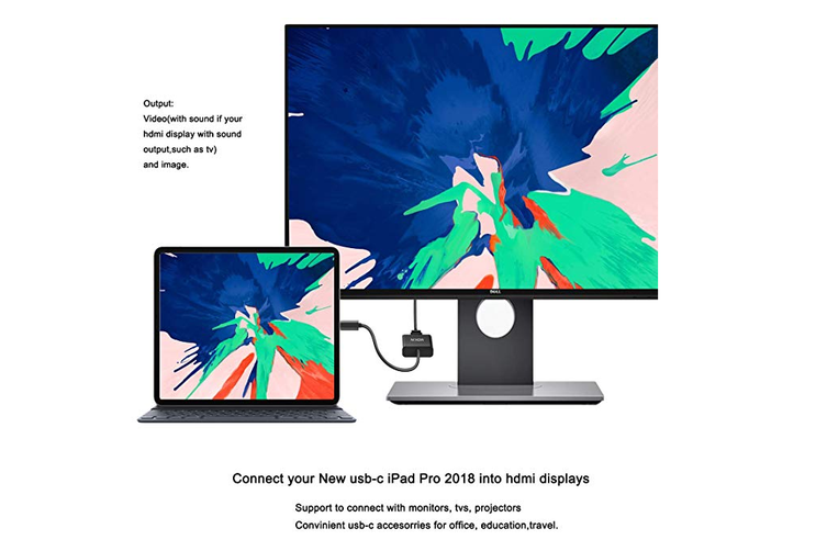 USB C to HDMI Adapter for MacBook Pro 2018/2017, iPad Pro/MacBook Air 2018, Samsung Galaxy S9/S8, Surface Go and More