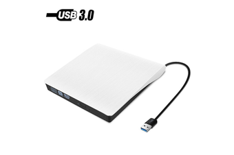 USB 3.0 Portable Ultra Slim External Slot-in DVD-RW CD-RW CD DVD ROM Player Drive Writer Rewriter Burner - White