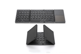 Foldable Bluetooth Keyboard Portable Mini BT Wireless Keyboard with Touchpadwith Rechargable Li-ion Battery