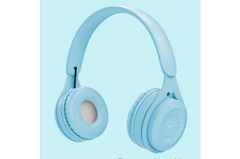 Macaroon Volume Limited 85dB Kids Headphone Bluetooth Wireless Over Ear Foldable Stereo Sound Noise Protection Headset with AUX 3.5mm Cord Microphone for Boys Girls Cellphone Pad TV PC Notebook Blue
